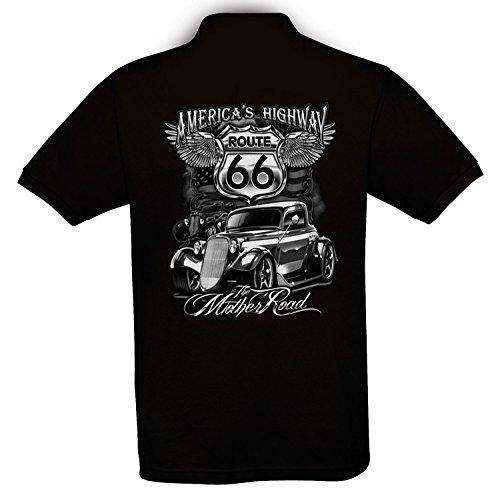 Ethno Designs Hot Rod - Auto Motiv Oldschool - Vintage Rockabilly Retro Style Polo Shirt für Herren - The Mother Road, regular fit, black, Größe XXXL