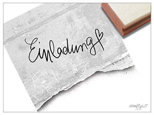 Stempel Textstempel EINLADUNG mit Herz, in Handschrift - Schriftstempel für Einladungskarten, Geburtstag Hochzeit Einschulung Deko - zAcheR-fineT