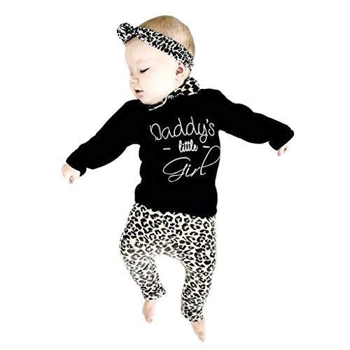 MEIbax 3-teiliges Set Neugeborenes Baby Mädchen Brief T Shirt Tops + Leopard Print Hose Set Kleidung Baby Leopard Print