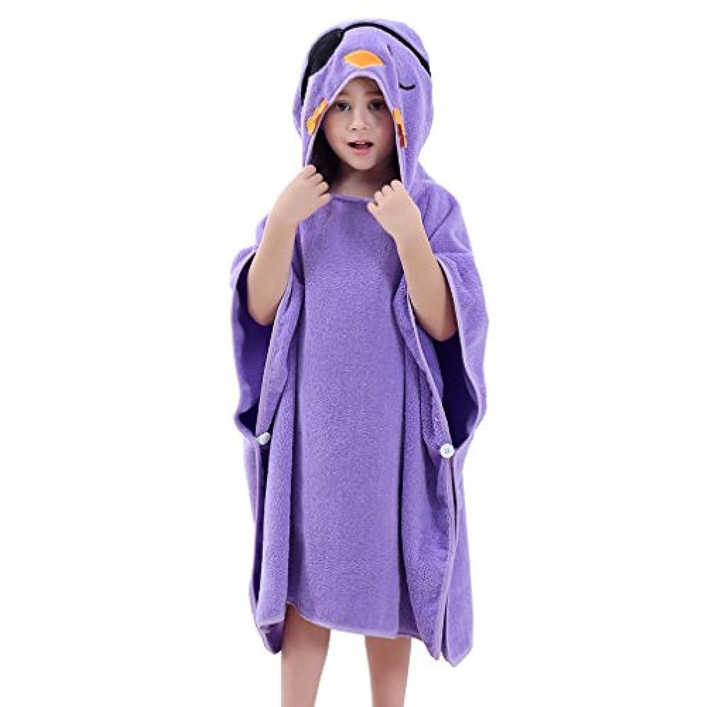 MICHLEY Baby Kapuzenbadetuch Kinder BadePoncho Mädchen Bademantel 70x70cm Baumwolle Tier Badetücher fit für 2-6 Jahre(Vogel)