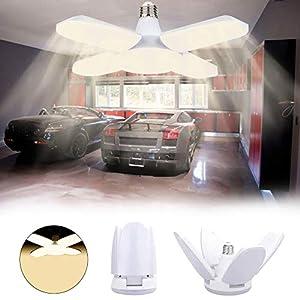 LED Garagenleuchten,LACYIE Einstellbar Garage Deckenleuchten 80W Led Shop Lichter 8000 LM 3000K E26/E27 Garagenbeleuchtung mit 4 verstellbare Verkleidungen für Werkstatt Keller Korridor(Warmes Licht)