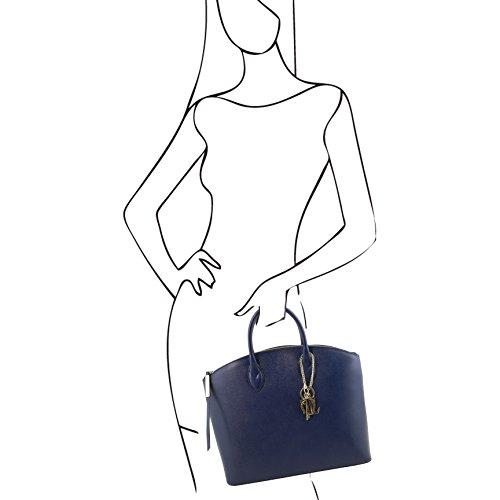 Tuscany Leather - TL KeyLuck - Sac cabas en cuir Saffiano - Grand modèle Bleu - TL141229/77 Taupe clair