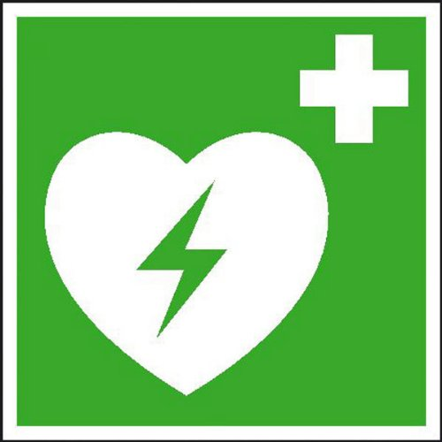 Automatisierter externer Defibrillator (AED) SafetyMarking langnachleuchtend, Folie, 15x15 cm -