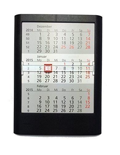 HiCuCo 3-Monats-Tischkalender für 2 Jahre (2017 und 2018) - Aufstellkalender - schwarz