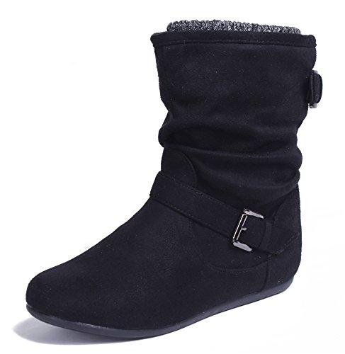 AgeeMi Shoes Femmes Boots Boucle Veau Hiver Daim Talon Compensé Plier Souples Bottes
