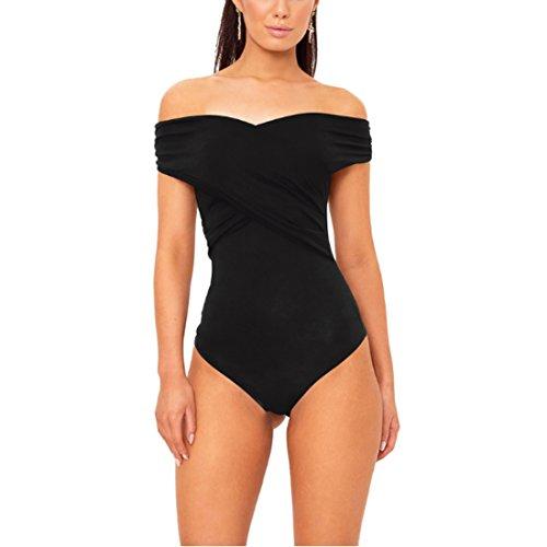 Inlefen Frauen Sexy Schulterfrei Slim Bodysuit Sleeveless Trikotanzug Overall