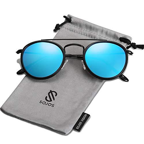 SOJOS Retro Metall Polarisiert Runde Sonnenbrille Damen Herren SJ1104 mit Schwarz Rahmen/Blau Linse