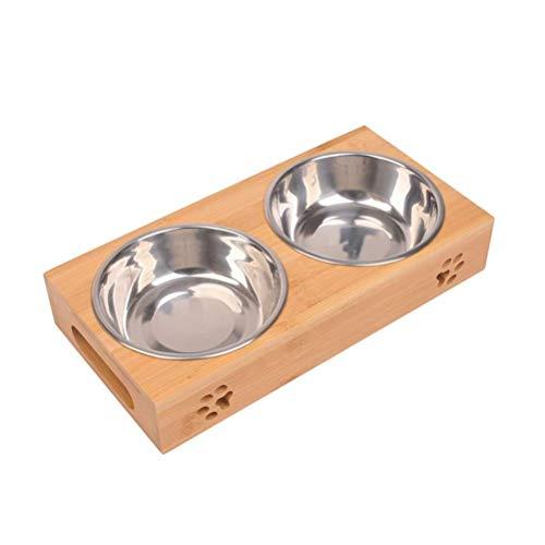 HHB Elevated Pet Bowl Raised Dog Feeder Keramik-Futternapf Umweltfreundliche Holz-Katzenfutterautomat, kombiniert mit Bambusständer und 2 Keramiknäpfen -