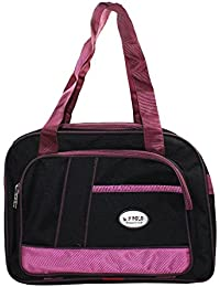 Frabjous Pink & Black Polyester Travel Bag