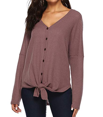 Womens V Neck Tie Knot Button Down Knit Tunic Blouse Sweater Loose Fitting Bat Wing Plain Shirts (Cardigan Knit Crochet)