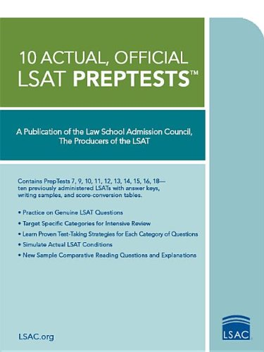 10 Actual, Official LSAT Preptests: (preptests 7,9,10,11,12,13,14,15,16,18) (LSAT Series)