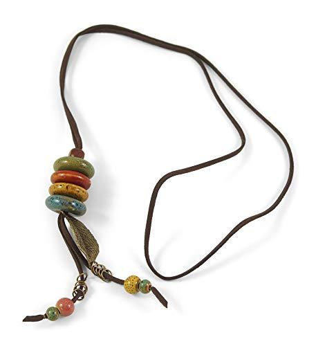 Ethno Wild-Lederkette mit Keramik-Perlen und Blättern für Trachten/Volksfeste   Bohemian/Boho Style   Trachten-Schmuck   ca. 90cm lange WildLeder-Halskette aus PU, Donut (P1258)