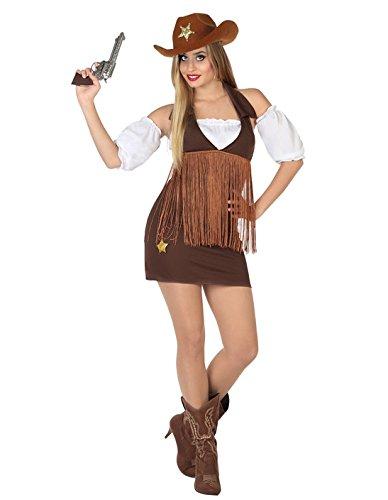 Atosa-26549 Cowgirl Disfraz Vaquera, Color marrón, XS-S (26549