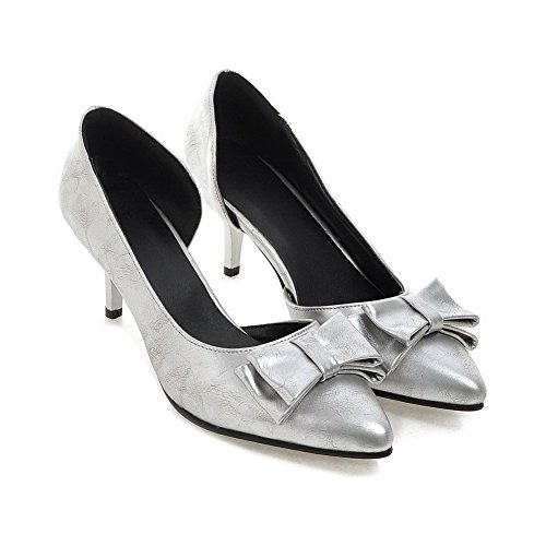 AllhqFashion Femme Pointu Tire Pu Cuir Couleur Unie à Talon Correct Chaussures Légeres Argent