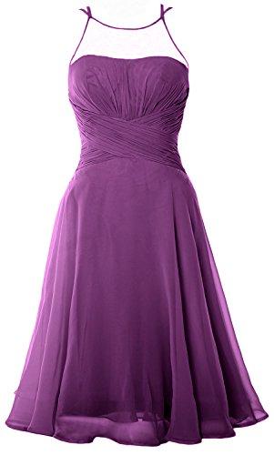 MACloth Elegant Illusion Short Cocktail Dress Chiffon Wedding Party Formal Gown Sangria