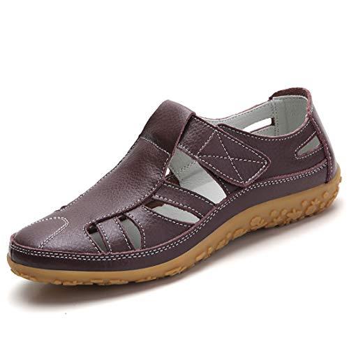 Z.SUO Damen Sandalen Flach Leder Bequeme Casual Mokassin Loafers Fahren Schuhe Mode Sommer Zehentrenner Sandalen(38 EU,Braun)