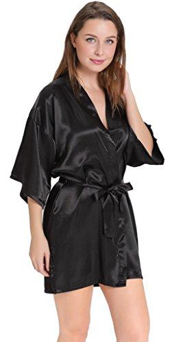 Aibrou peignoir long satin pyjama femme sexy ensemble chemise de nuit peignoir nuisette kimono japonais déshabillé vetement cadeau pour la fête mariage Noir