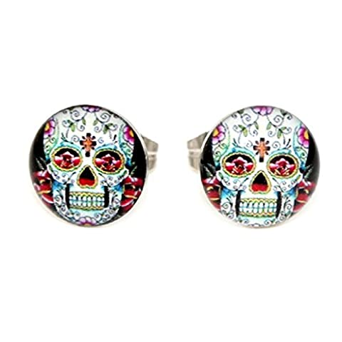 Pair Classic Mexican Sugar Skull (More Styles Available) Images Logo Girls Women's Butterfly-Fastening Earrings Studs