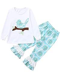 ☀☀Conjuntos Deportivos para Bebé Niño,Conjunto De Conjuntos De Trajes De Top + Pantalones De Niño con Estampado De Rama De Pájaro De Niños Pequeños