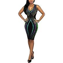 Vestidos de Fiesta Cortos Bodycon Rayas de Colores V-Cuello Atractivo Elegante y Encantador para