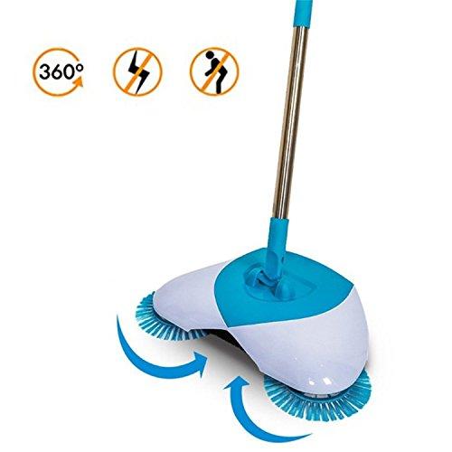 Spin Broom, Hand Push Kehrmaschine Besen 360 Grad Rotary einstellbarer Handgriff ohne Strom Haushalt Besen Kehrmaschine (Blau + weiß)