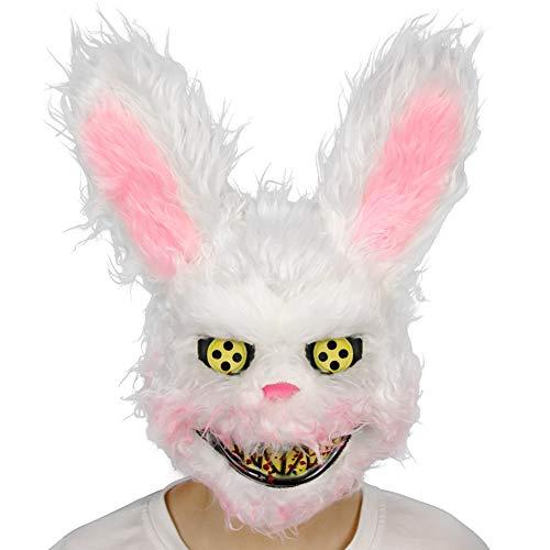 Hankyky Halloween Horror Tier Plüsch Kopf Maske Einzigartige Kaninchen Panda Wolf Bär Form Cosplay Plüsch Maske Halloween Kostüm Zubehör Festliche Party Supplies (Kaninchen Zähne Kostüm)