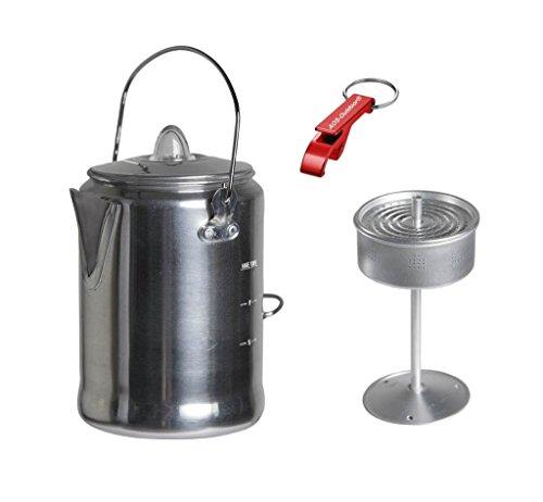 Alu Camping Trekking Kaffeekanne mit Percolator + AOS-Outdoor® Flaschenöffner
