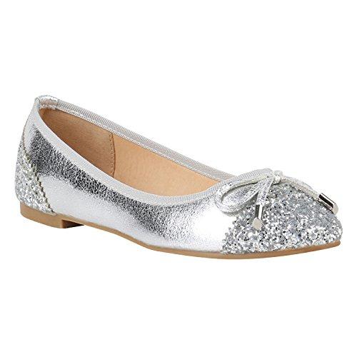 Damen Ballerinas Schuhe Halbschuh flache Schuhe Slipper Silber Schleifen