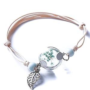 CanVivi Armbänder Damen Mädchen Glas Blumen Mit Anhänger Armband