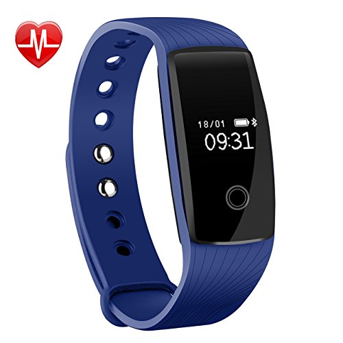 Fitness Tracker, Mpow Activity Tracker Braccialetto Sport Cardio Pedometro Cardiofrequenzimetro da Polso HR Orologio Bracciale Fitness Watch Band Smartwatch Smart Watch Contapassi Cardiofrequenzimetro, Sonno Monitoraggio, Monitoraggio Calorie, Notifiche Chiamate, Compatibile per iOS Android, Blu