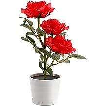 Lampe Solaire Fleur LED en forme de Rose Bouquet Roses artificielles lumière led Lampe fleur decoration pour maison, cour, boureau(Rouge)