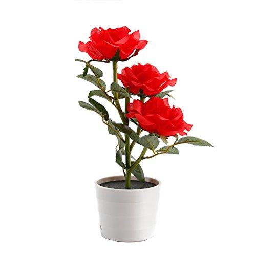LEDMOMO Solar Flower Pot LED-Licht Rose Blume Tischlampe 3 Lichter Blume LED flexible Blume Schreibtischlampe für Hausgarten-Raum-Dekoration (rot)