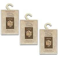 BOLES D'OLOR Pack of 3 Large Scented Sachet Savon de Marseille with Hanger, Fragrance Fresh Coconut Oil