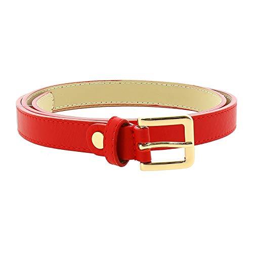 Fashiongen - 2 cm Gürtel echtes italienisches Leder für damen, LINDA - Rot (Golden), 100 / Hose 48 bis 52