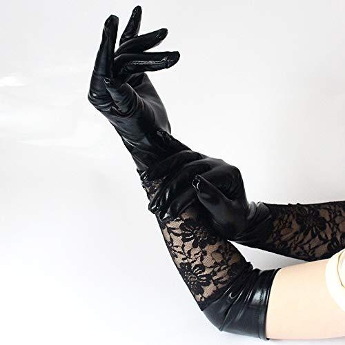3 Paar Damen Stretch Spitze Elbow Länge Handschuhe Leder Wet Look Lange Handschuhe Arbeitshandschuhe (Color : Black)