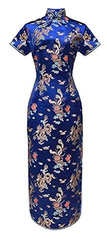 Robe chinoise Qipao longue de soirée bleu marine motif dragon