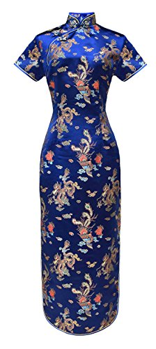 Chinesisches kleid qipao abendkleid lange ärmelkurz Blau (Frauen Für Kostüm Geisha)