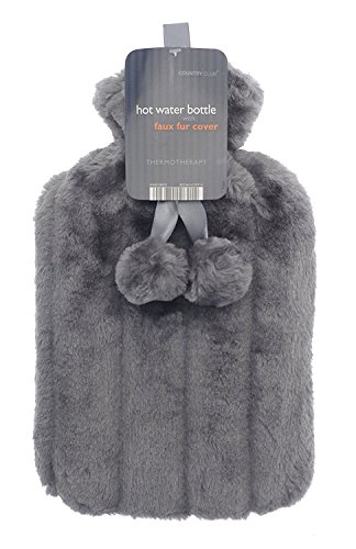 Wärmflasche mit super weichem luxuriösem Plüsch-Bezug, 2Liter, langlebig, das perfekte Geschenk, mit britischem Design anthrazit
