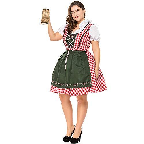 GIFT ZHIZHUXIA Damen Plaid Rock Oktoberfest Bayerisches Bierfest Mädchen Plus Size Deutsch Maid Kostüm Weihnachtsfeier Kleid Requisiten (Farbe : Photo Color, größe : ()