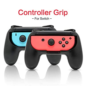 Griffe für Nintendo Switch Joy-Con, verschleißfestes Griff-Set für Switch Joy Cons Controller, Schwarz, 2 Stück