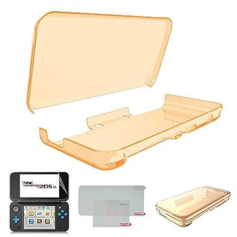 Hikfly Ultra Transparent Cristal TPU Coque pour Nintendo New 2DSXL / LL (2017 Release) avec HD PET Film Écran Protecteur (Transparent Orange)