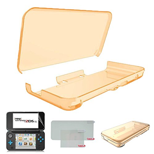 Hikfly Ultra Clear Kristall TPU Cover Shell für Nintendo New 2DSXL / LL (2017 Release) mit HD PET Film Bildschirm Schutz (Clear Orange)