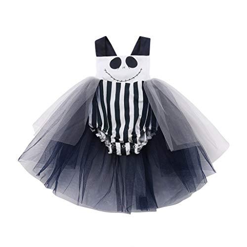 Lomelomme Halloween Skelett Kostüm Kleid Mädchen Tutu Overall Kleider Festlich Ärmellos Drucken Teufel Party Kostüm Karneval Röcke Halloween Kostüm Kleider Kurz - Drucken Ärmelloses Kostüm