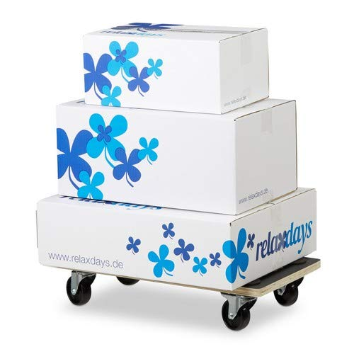 Relaxdays Transportroller Feststellbremse, 400 kg, Lenkungsrollen, Anti-Rutsch-Belag, HBT: 11,5 x 58 x 30 cm, schwarz -