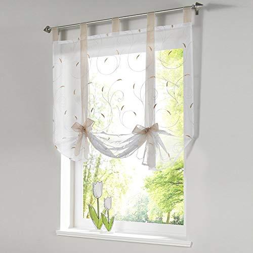 Sccarlettly Römischer Vorhang Raffrollo Sheer Liftable Organza Moderne Bestickt Küche Vorhänge Fenster Vorhang Rot 140 * 140Cm 55.1 * 55.1 (Color : Sandcolor, Size : 120 * 140Cm)
