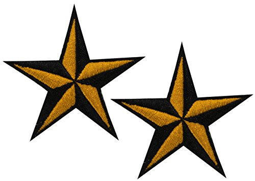 Tattoo Nautical Stars (Aloha-Beachwear Nautical Star Nautic Stern Aufnäher Flicken Bügelbild Aufbügler Patch Sailor Rockabilly Stick Tattoo, C1051)
