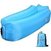 LANGRIA Sofá Hinchable con Almohada Integrada y Bolsillo Lateral Tumbona Inflable de Nylon Resistente Capacidad 200 Kg para Interior/Exterior Uso en Playa Piscina Camping Parque (Azul)