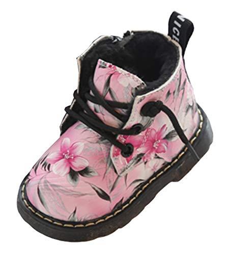 VECJUNIA Babys Warm Weiche Sohle Blumen Gefütterte Stiefel Winterschuh Reitstiefel Pink 25 EU
