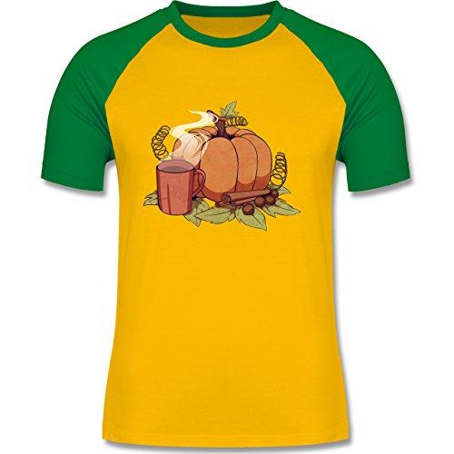 Statement Shirts - Pumpkin Spice - zweifarbiges Baseballshirt für Männer Gelb/Grün