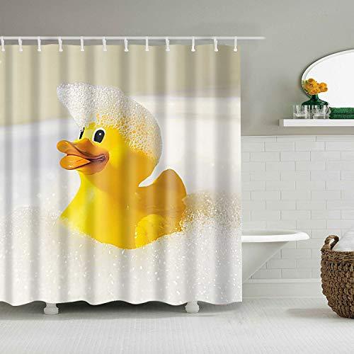 tergrund 1 gelbe Enten-Schwimmen in der Badewannen-Seife sprudelt Badezimmer 3D Digitaldruck Duschvorhang 180 × 180CM + 12 Haken wasserdicht und schimmelresistent ()